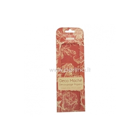 "Plonas dekoravimo popierius ""Red Roses"", 26x37,5 cm, 3 vnt."