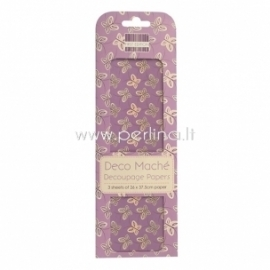 """Deco Mache Paper """"Butterflies"""", 26x37,5 cm, 3 pcs"""