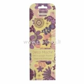 "Plonas dekoravimo popierius ""Purple Bloom"", 26x37,5 cm, 3 vnt."