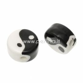 "Keramikinis karoliukas ""Yin Yang"", juodos-baltos sp., 16 mm"