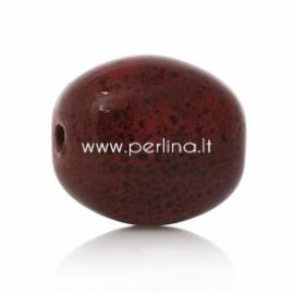 Keramikinis karoliukas, tamsiai raudona su dėmelėm sp., 20x17 mm