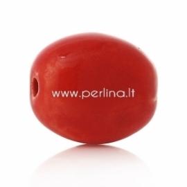 Keramikinis karoliukas, raudona sp., 20x17 mm
