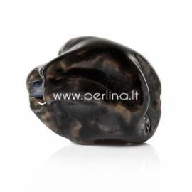 Keramikinis karoliukas, juoda sp., 16x14 mm