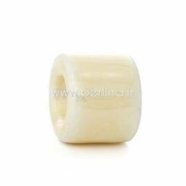 Keramikinis karoliukas, smėlio AB sp., 17x14 mm