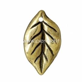 "CCB plastiko pakabukas ""Lapas"", ant. aukso sp., 25x15 mm"
