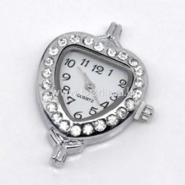 Laikrodis su kristalais, širdelės f., sidabro sp., 32x26 mm