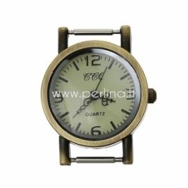 Laikrodis, apvalus, ant. bronzos sp., 32x27 mm