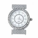 Laikrodis su kristalais, apvalus, sidabro sp., 38x31 mm