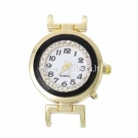 Laikrodis su kristalais, apvalus, geltonos sp., 40x28 mm