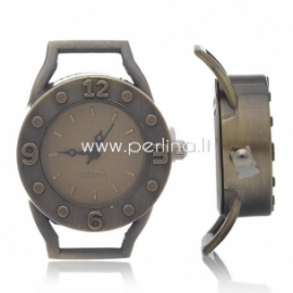 Laikrodis, apvalus, ant. bronzos sp., 37,5x29 mm