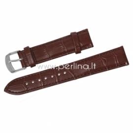 Natūralios odos apyrankė laikrodžiui, ruda sp., 12,5-8,8 cm