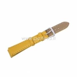 Dirbtinės odos apyrankė laikrodžiui, geltona sp., 10,5-7,5 cm