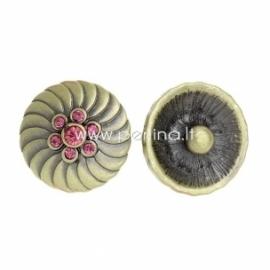 """NOOSA spaudė """"Rožinė gėlytė"""", metalinė, 20 mm"""