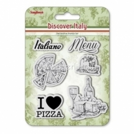 "Akrilinis antspaudas ""Discover Italy. Menu"", 6 vnt"