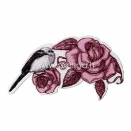 """Medinė detalė """"Gėlė ir paukštis"""", 7,2x4,2 cm"""