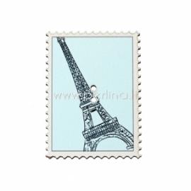 """Medinė saga """"Pašto ženklas - Eifelio bokštas"""", 4x2,9 cm"""
