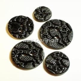 Ceramics button, black, 3,6 cm