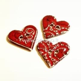 """Keramikinė saga """"Širdis"""", raudona su reljefu, 3,5x3,5 cm"""