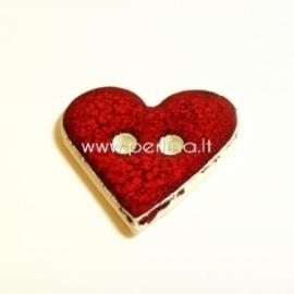 "Ceramics button ""Heart"", red, 3,5x3,5 cm"