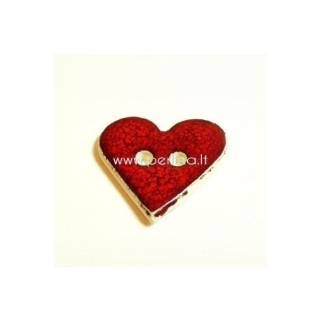 """Keramikinė saga """"Širdis"""", raudona, 3,5x3,5 cm"""