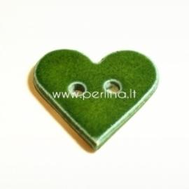 """Keramikinė saga """"Širdis"""", žalia, 3,5x3,5 cm"""