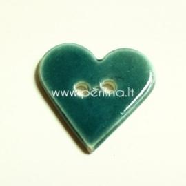 """Keramikinė saga """"Širdis"""", žydra, 3,5x3,5 cm"""