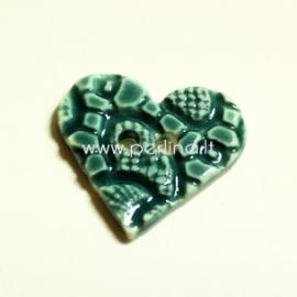 """Keramikinė saga """"Širdis"""", žydra su reljefu, 3,5x3,5 cm"""