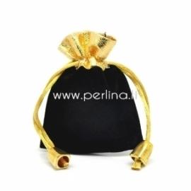 Aksominis maišelis, juodas, 9x7 cm