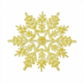 "Akrilinė detalė ""Kalėdų snaigė"", aukso sp. su blizgučiu, 10x8,8 cm"
