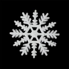 """Akrilinė detalė """"Kalėdų snaigė"""", balta su blizgčiu, 5x5 cm"""