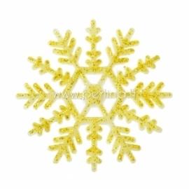 "Akrilinė detalė ""Kalėdų snaigė"", aukso sp. su blizgučiu, 5x5 cm"