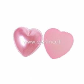 """Akrilinis kabošonas """"Širdelė"""", rožinės sp., 9x9 mm"""
