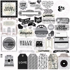 "Lipdukai ""Black & White element stickers - Capture Life"", 30,5x30,5 cm"
