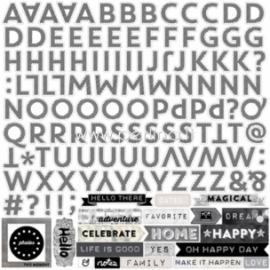 """Raidžių lipdukai """"Black & White alpha stickers - Capture Life"""", 30,5x30,5 cm"""