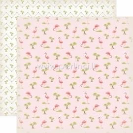 """Paper """"Flamingos - Summer Lovin'"""", 30,5x30,5 cm"""