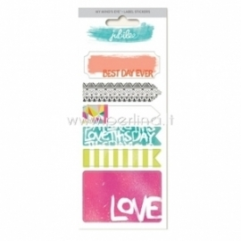 "Lipdukai - etiketės ""Label Stickers - Wild Berry Love"", 6 vnt., 19x7,5 cm"