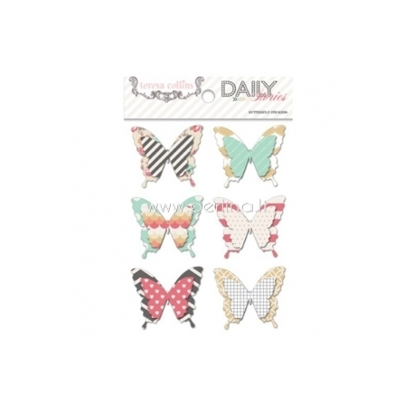 "Sluoksniuoti lipdukai ""Butterfly - Daily Stories"", 6 vnt., 13x10 cm"