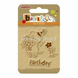 """Akrilinių antspaudų rinkinys """"Basik's New Adventure - Basik's Birthday"""", 3 vnt"""
