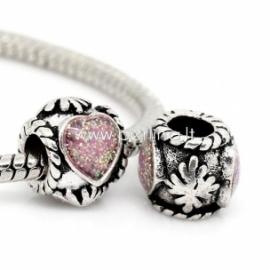 """Pandora karoliukas """"Širdis ir gėlė"""", ant.sidabro sp., 11x10 mm"""