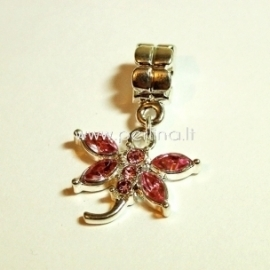 "Pandora style dangle charm ""Dragonfly"", pink, 31x20 mm"