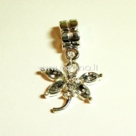 "Pandora style dangle charm ""Dragonfly"", clear, 31x20 mm"