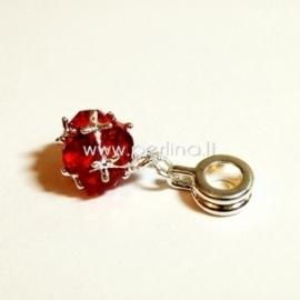 """Pandora pakabukas """"Kamuolukas"""", raudonos sp., 26x10 mm"""