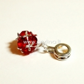 "Pandora style dangle charm ""Ball"", red, 26x10 mm"