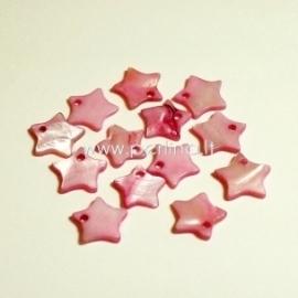 """Kriauklės pakabukas """"Žvaigždė"""", rožinės sp., 12x12 mm"""