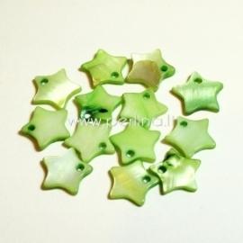 """Kriauklės pakabukas """"Žvaigždė"""", žalia sp., 12x12 mm"""