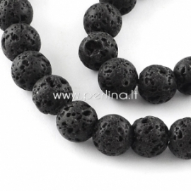 Dyed natural Lava beads, strand, 39,5 cm, 11-12 mm