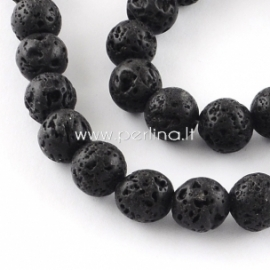 Dyed natural Lava beads, strand, 40,5 cm, 10 mm