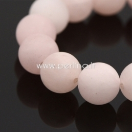 Natūralus rožinis kvarcas, karoliukas, matinis, 10 mm, 1 vnt.