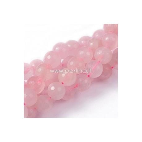 Natūralus rožinis kvarcas, karoliukas, briaunuotas, juosta 20 cm, 8 mm