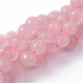 Natūralus rožinis kvarcas, karoliukas, briaunuotas, juosta 20 cm, 6 mm